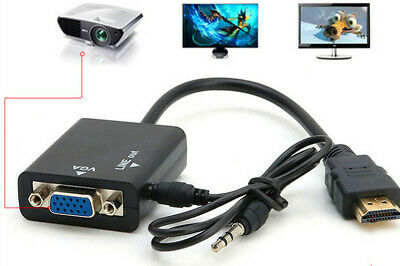 $ CDN4.37 • Buy New HDMI Male To VGA With Audio HD Video Cable Converter Adapter 1080P For PC