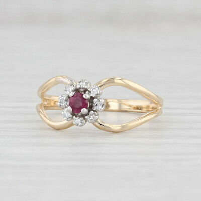 £127.76 • Buy New Ruby Diamond Halo Ring 14k Yellow Gold Size 7 Engagement Floral
