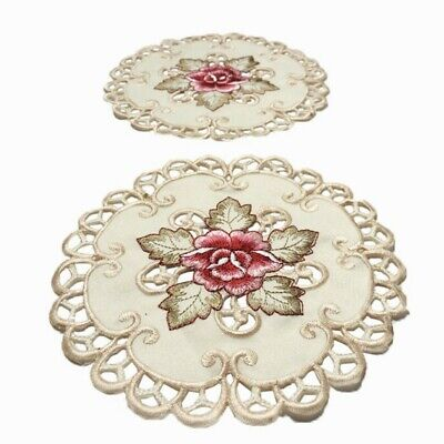 £7.52 • Buy 4 Pack Round Placemats White Vintage Embroidered Lace Doilies Table Mat Flower