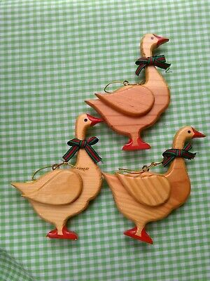 $ CDN12.09 • Buy Lot Of 3 Vintage Wooden Goose Christmas Ornaments FREE SHIPPING