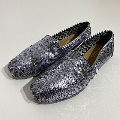 $19.99 • Buy Toms Silver Glitter Sequins Flats Size W9.5