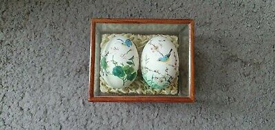 £13.95 • Buy Decorative Painted Egg Case Of 2 Eggs Wooden/glass Vintage Birds Flowers