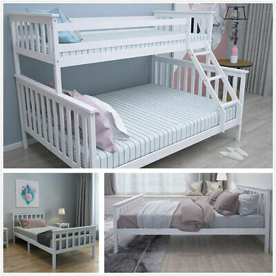 £177 • Buy Wooden Bed Frame 3FT Single &4FT6 Double Triple Sleeper Bunk In White Solid Pine