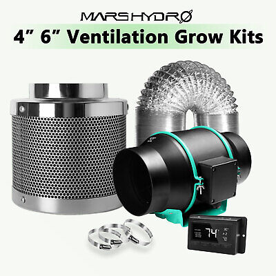 £219.99 • Buy Mars Hydro 4'' 6'' Inline Ventilation Fan Kits Ducting Carbon Filter Grow Tent