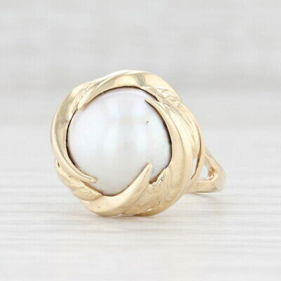 $199.99 • Buy Mabe Pearl Solitaire Ring 10k Yellow Gold 12mm Size 5
