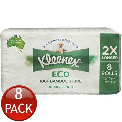 AU86.39 • Buy Kleenex Eco Tissue Roll Double Length Soft Toilet Paper 100% Bamboo Fibre 8 Pack