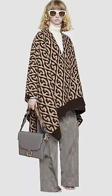 $875 • Buy NWT Authentic GUCCI G Rhombus BROWN GG Logo Wool Poncho Cape Men / Woman Sweater