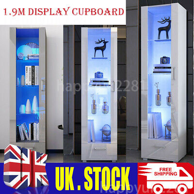 £199.99 • Buy 1.9M Tall Display Cabinet High Gloss 4 Shelves Drawer Furniture Modern With LED
