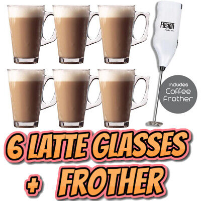 £9.99 • Buy 6 X Latte Coffee Glasses And Cappuccino Frother Lattes Tea Glass Cups Mugs Set