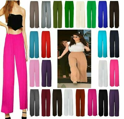 £7.99 • Buy Ladies Womens Plus Size Plain Palazzo Trousers Baggy Wide Leg Flared Pants 8-26