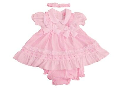 £11.99 • Buy BNWT Baby Girls Spanish Style Summer Pink & White Frilly Bows Dress Set Outfit