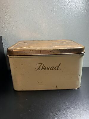 $37.99 • Buy Vintage Metal Tin Hinged Bread Box Canister Bronze Cream