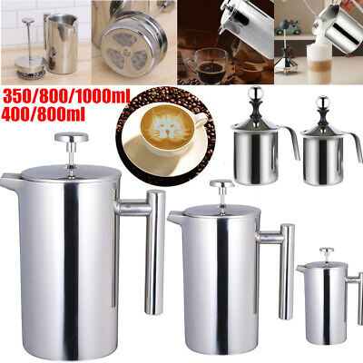 £19.89 • Buy Steel French Press Cafetiere Coffee Maker Plunger Pitcher Tea Filter 3/6/8 Cup