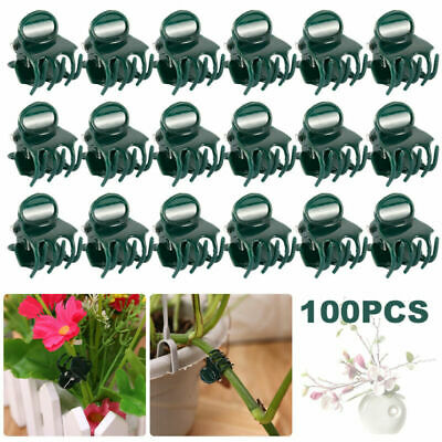 £4.59 • Buy 100X UK Reusable Garden Plant Clips Cane Support Sprung Seeding Fix Greenhouse