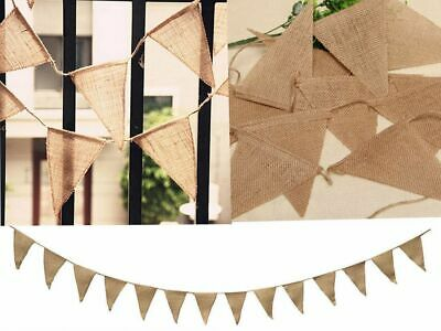 £2.99 • Buy Hessian Fabric Bunting Vintage Wedding Baby Shower Shabby Chic Party Decoration