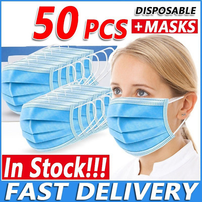 £3.49 • Buy 50 X Disposable Blue Face Masks 3 Ply Dental Non Medical Surgical Mask Covering