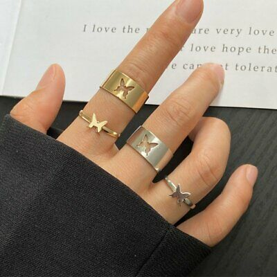 £2.18 • Buy 2PCS 925 Silver Hollow Butterfly Couple Ring Set Adjustable Finger Ring Jewelry