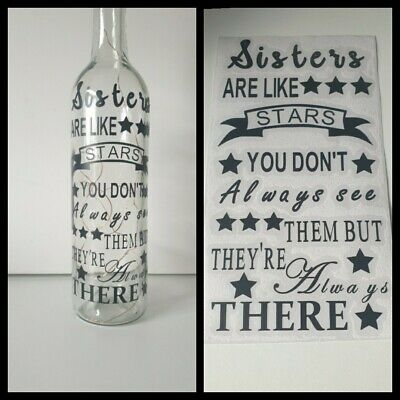 £2.44 • Buy Sisters Vinyl Quote Craft DIY Box Frames Bottles Gifts Candles Special Sister