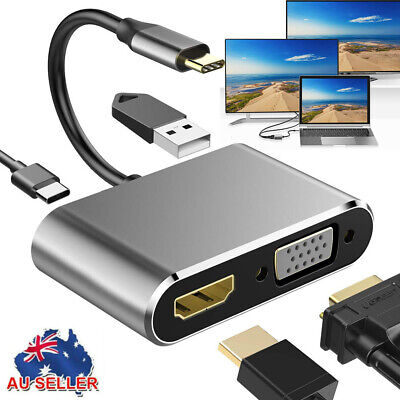 AU22.92 • Buy 4 In 1 Type C To HDMI Cable/adapter 4k*2k Type C To HDMI VGA 3.0 USB C PD HUB AU