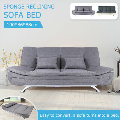 AU285.99 • Buy 3 Seats Sofa Bed Lounge Futon Couch Recliner Folding Chaise Living Room Bedroom