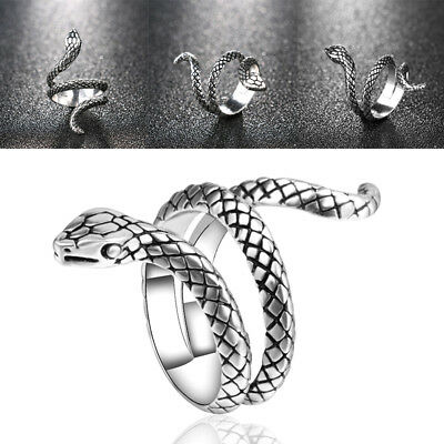 £4.30 • Buy Gothic Snake Animal Jewellery Men Women Silver Plated Punk Rock Ring Size 7-*N