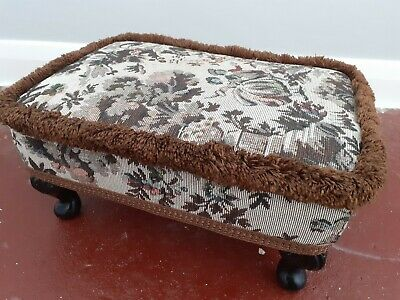 £25 • Buy Vintage Sherborne Upholstery Footstool/pouffe. Queen Anne Style Legs. Tapestry.
