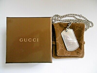 £189 • Buy Lovely Original Gucci Solid Hallmarked Silver Dog Tag Pendant Necklace Box Pouch
