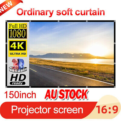AU26.92 • Buy NEW 150  Foldable Projector Screen Portable Outdoor Home 3D Movie Cinema 16:9 AU