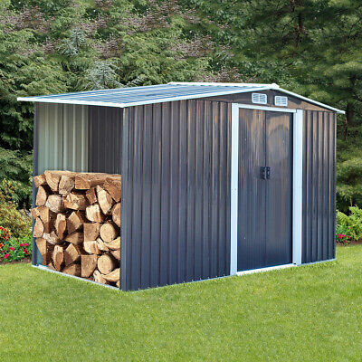 £309.95 • Buy Outdoor Metal Storage Shed 8x4 Ft Garden Yard Tools Wood Firewood Stacking House