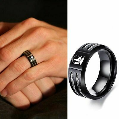 $13.63 • Buy Stainless Steel Cable Ring Engravable Wolf Wedding Band Black Bands Mens Jewelry