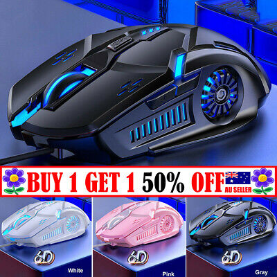 AU14.99 • Buy RGB LED Laser USB Mice Optical Wired Gaming Mouse For Laptop PC Computer TT AU