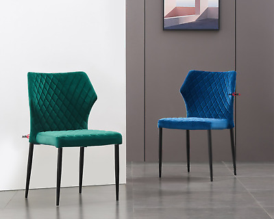 AU199 • Buy 2X Dining Chairs Kitchen Velvet Chair Fabric Metal Leg Dining Room Lounge Office