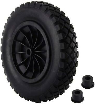 £13.99 • Buy Black PU 14  Puncture Proof Solid 3.50-8 Wheelbarrow Wheel Complete High Quality