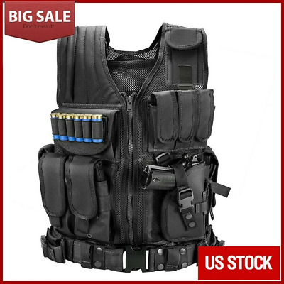 $32.98 • Buy Tactical Vest Breathable Military Gun Holder Molle Police Airsoft Combat Assault