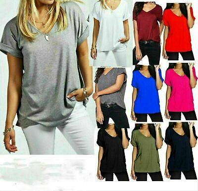 £5.99 • Buy Women Baggy Oversized Loose Fit Turn Up Sleeve Ladies V Neck Top T Shirt Cheap