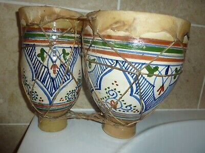 £28 • Buy 24.2cm By 32cm Wide Joined Ethnic/folk & Handpainted  Pottery & Skin Bongo Drums