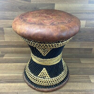 """£99.99 • Buy Vintage African Drum Stool Wicker & Leather Top 17"""" Footstall Tribal  Ottoman"""