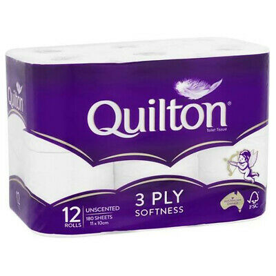 AU7.54 • Buy Quilton Tissue Roll White Unscented 3ply 12 Pack Toilet Paper Bathroom Essential