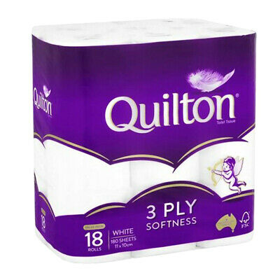 AU20.52 • Buy Quilton Tissue Roll 3ply Classic White 18 Pack Toilet Paper Bathroom Essential