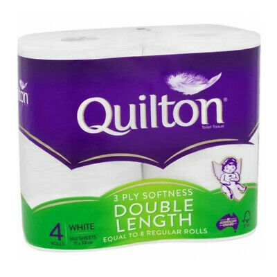 AU14.47 • Buy Quilton Tissue Roll White 3ply Double Length 4 Pack Soft Toilet Paper Bathroom