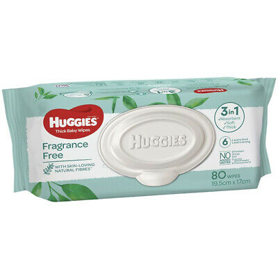 AU12.15 • Buy Huggies Baby Wipes Fragrance Free 80 Pack Triple Clean Thick Soft Absorbent