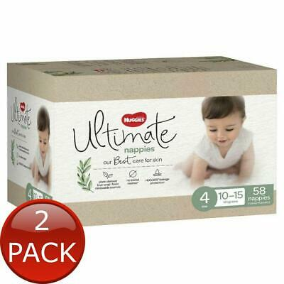 AU70 • Buy 2 X HUGGIES ULTIMATE TODDLER SIZE 4 58 NAPPIES DIAPER SOFT BREATHABLE DRY COVER