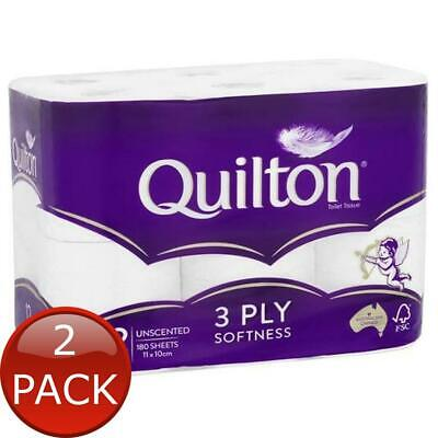 AU15.08 • Buy 2 X QUILTON TISSUE ROLL WHITE UNSCENTED 3PLY 12 PACK TOILET PAPER BATHROOM ES...