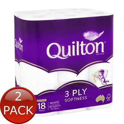 AU23.14 • Buy 2 X QUILTON TISSUE ROLL 3PLY CLASSIC WHITE 18 PACK TOILET PAPER BATHROOM ESSE...