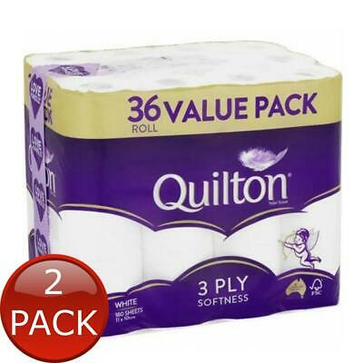 AU40.98 • Buy 2 X QUILTON TISSUE ROLL 3PLY WHITE 36 PACK TOILET PAPER WIPES BATHROOM ESSENTIAL
