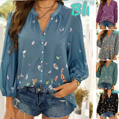 £8.99 • Buy Womens Baggy Button Up Shirt Tops Ladies Casual Butterfly Print Blouse Size 6-20