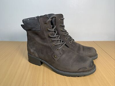 £23.95 • Buy CLARKS ARTISAN Leather Ankle Zip Lace Up Boots Size UK 6 EUR 39.5