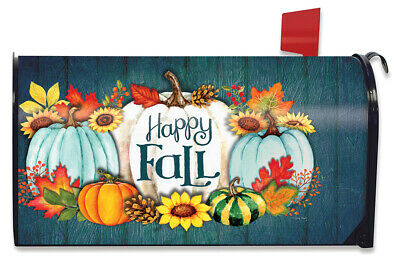 $16.99 • Buy Happy Fall Pumpkins Primitive Magnetic Mailbox Cover Autumn Leaves Standard