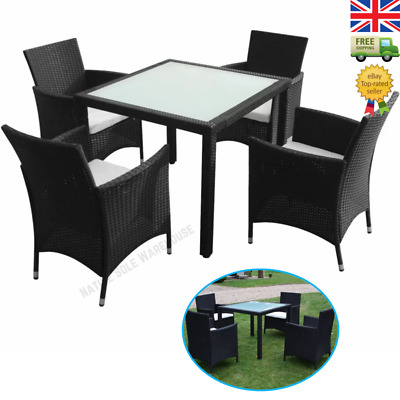 £544.95 • Buy Outdoor Rattan Dining Set Garden Furniture Table 4 Chairs Seats Cushions 9 Piece