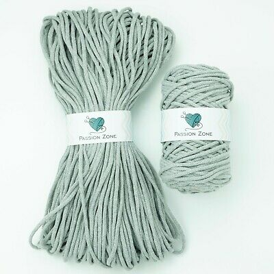 £4.99 • Buy CLEARANCE! 100m 5mm Light Grey Recycled Rope Macrame Cotton Rope Cord String Diy